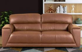 Casastyle Benigo 3 Seater Sofa Set for Living Room in Leatherette (Camel)