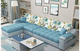 CasaStyle 6 Seater Solimon Fabric L Shape Sofa Set (Light Blue- Light Grey)