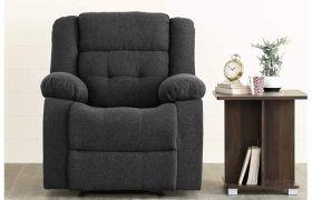 CasaStyle Wellna 1 Seater Fabric Recliner Sofa (Dark Grey)