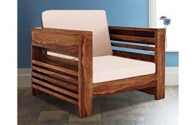 CasaStyle Aeron Solid Wood 1 Seater Sofa (Honeyoak Polish)