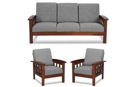 CasaStyle Invaston 3+1+1 Solid Wood Sofa Set (Honeyoak Polish)