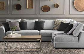 CasaStyle Zikron 6 Seater Fabric Interchangeable L Shape Sofa Set (Light Grey)