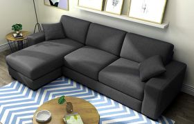 CasaStyle Adonoy 4 Seater Fabric L Shape Sofa Set (Dark Grey)