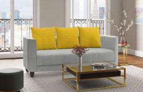 Casastyle Alonray 3 Seater Fabric Sofa Set (Light Grey-Yellow)