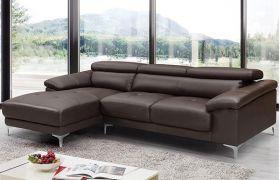 Casatyle Germon 4 Seater Leatherette L Shape Sofa Set (Brown)- Left Facing
