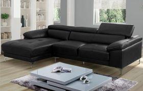 Casatyle Germon 4 Seater Leatherette L Shape Sofa Set (Black)- Left Facing