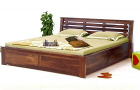 CasaStyle Evelano Teak Wood Bed  (Teak Polish)