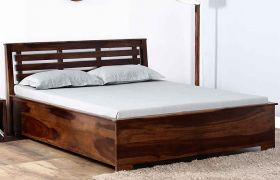 CasaStyle Evelano Hill Teak Wood Bed With Box Storage  (Teak Polish)