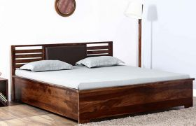 CasaStyle Margus Teak Wood Bed (Teak Polish)