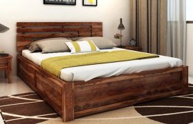CasaStyle Audreena Teak Wood Bed With Box Storage (Teak Polish)