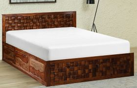 CasaStyle Debulina Teak Wood Bed With Box Storage (Teak Polish)
