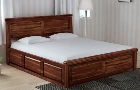 CasaStyle Delmonte Teak Wood Bed With Box Storage (Teak Polish)