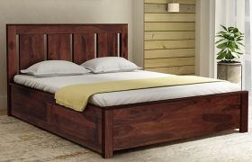 CasaStyle Lorenzo Teak Wood Bed With Box Storage (Teak Polish)