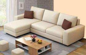 CasaStyle Adonos 4 Seater Fabric L Shape Sofa Set (Cream)