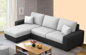 CasaStyle Adonos 4 Seater Fabric L Shape Sofa Set (Light Grey-Dark Grey)