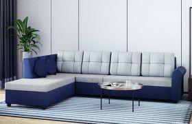 CasaStyle Ambro 6 Seater Fabric L Shape Sofa Set (Light Grey-Blue)