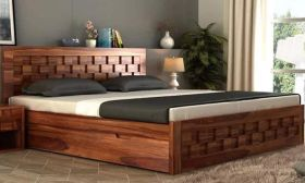 Furny Wallsmith Teak Wood Bed with Storage (Teak Polish)