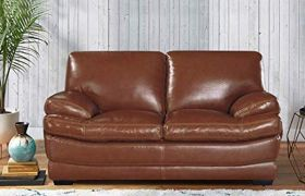 CasaStyle Bretty 2 Seater Leatherette Sofa Set (Brown)