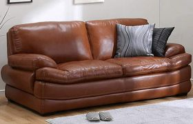CasaStyle Bretty 3 Seater Leatherette Sofa Set (Brown)
