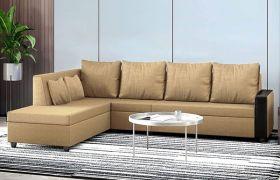 CasaStyle Casprano 6 Seater Fabric L Shape Sofa Set (Camel)