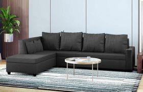CasaStyle Casprano 6 Seater Fabric L Shape Sofa Set (Dark Grey)