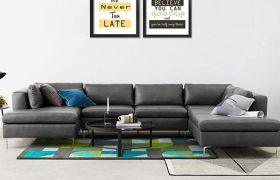 CasaStyle Hamston 7 Seater Leatherette U Shaped Sofa Set (Dark Grey)