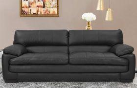 CasaStyle Melbourne Leatherette 3 Seater Sofa Set (Black)