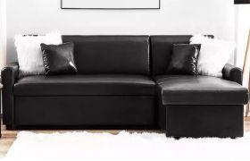 CasaStyle Olion 4 Seater Leatherette Interchangeable L Shape Sofa Set (Black)