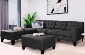 CasaStyle Travia Fabric 6 Seater LHS L Shape Sofa Set with Extra Ottoman (Dark Grey)