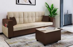 CasaStyle Wagron 4 Seater Fabric & Leatherette Interchangeable L Shape Sofa Set (Cream-Brown)