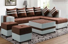 CasaStyle Stylio 8 Seater Fabric L Shape Sofa Set with Centre Table & 2 Puffy (Brown-Light Grey)
