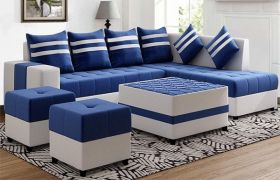 CasaStyle Stylio 8 Seater Fabric L Shape Sofa Set with Centre Table & 2 Puffy (Blue-Light Grey)