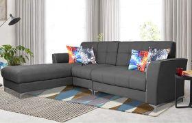 Casastyle Eyon Modern Fabric 6 Seater  L Shape Sofa Set (Dark Grey)