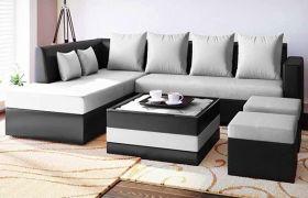 Casastyle Marbrella 8 Seater Fabric & Leatherette  L Shape Sofa Set with 2 Ottomans & 1 Centre Table (Light Grey-Black)