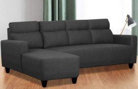 CasaStyle Emiloy 6 Seater Fabric L Shape Sofa Set (Dark Grey)