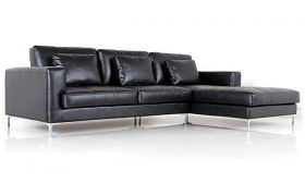Casastyle George Four Seater Spacious L Shape RHS Leatherette Sofa (Black)