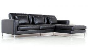 Casastyle George Four Seater Spacious L Shape RHS Leatherette Sofa (Black)
