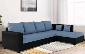 CasaStyle Lavis Six Seater RHS L Shape Sofa Set- Polyester Fabric & Premium Leatherette (Blue - Black)