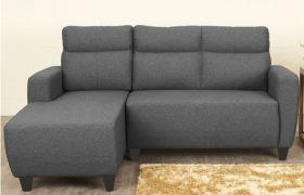 CasaStyle Emiloy 4 Seater Fabric L Shape Sofa Set (Dark Grey)