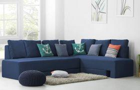 CasaStyle Sleepzona 6 Seater Fabric Corner Sofa Cum Bed Set (Dark Blue)