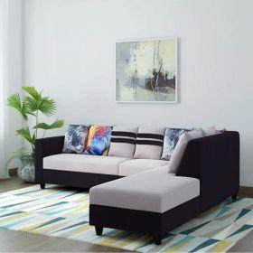 CasaStyle Casperia Fabric 6 Seater L Shape Sofa Set (Grey-Black)