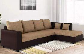 CasaStyle Lavis Six Seater RHS L Shape Sofa Set- Polyester Fabric & Premium Leatherette (Camel - Brown)