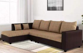 CasaStyle Lavis Six Seater LHS L Shape Sofa Set- Polyester Fabric & Premium Leatherette (Camel - Brown)