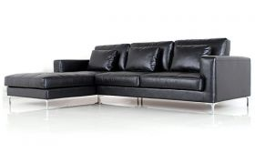 Casastyle George Four Seater Spacious L Shape LHS Leatherette Sofa (Black)