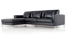 Casastyle George Four Seater Spacious L Shape LHS Leatherette Sofa (Black)