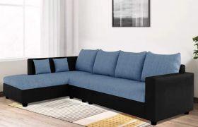 CasaStyle Lavis Six Seater LHS L Shape Sofa Set- Polyester Fabric & Premium Leatherette (Blue - Black)