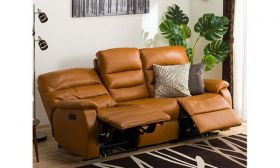 Casastyle Hopson Three Seater Recliner Sofa in Leatherette (Camel)