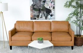 Casastyle Brikford 3 Seater Leatherette Sofa Set (Camel)