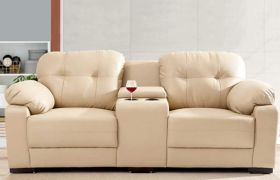 CasaStyle - Jonles 2 Seater Leatherette Sofa Set with Storage & Cupholder (Cream)