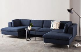 CasaStyle - Hamston 7 Seater U Shaped Sofa Set for Living Room (Blue)